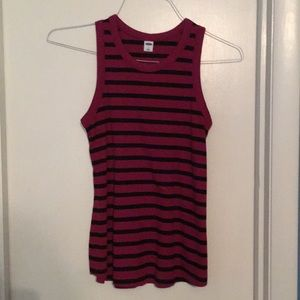 Raspberry and black tank top - small